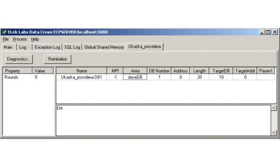 Ukázka nakonfigurovaného providera.